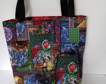 Beauty and The Beast Tote Bag and Pencil Pouch. Zipper Bag. Make up bag. Travel bag