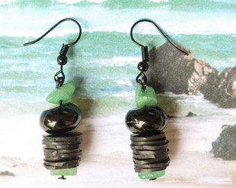 Adventurine  (handmade earrings from recycled bicycle inner tube and beads)