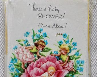 Vintage Baby Shower Invitations -Unused- In Package Set of 12 - Fairies & Flowers
