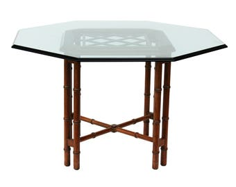 Octagonal Faux Bamboo Dining Table Base by Hekman - Hollywood Regency