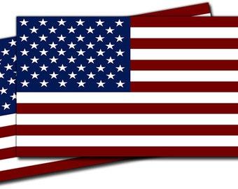 United States U.S.A. Flag Vinyl Decal Sticker - 2 Pack ED077