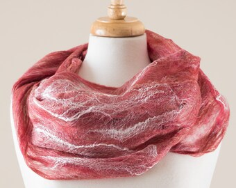 Sale 40% Off Felted scarf, infinity scarf, Cobweb Felted Scarf, Red merino wool and silk fibres, Lace, Hole, light weight