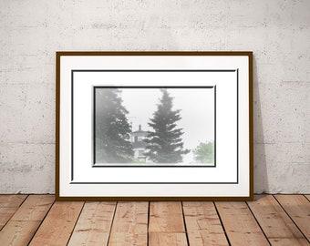 Foggy Coastal Print-Maine Decor-Maine Photography-Owl's Head Lighthouse Photography-Nautical Wall Art-White Wall Art-Fine Art Print