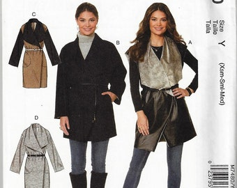 McCalls #M7480~Misses' Shawl Collar, Wrap Vest and Coats~Misses Sz 4-14 or 16-26~New Uncut Factory Folded