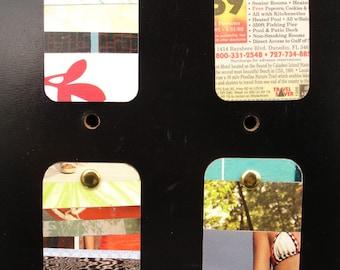 Upcycled Mini Wall Art Summer Fun Stripes set of 4 FREE SHIPPING
