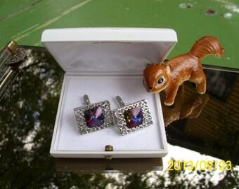Vintage Bucherer-Mens Ornate Silver Cufflinks with Purple Stone-In Original Box-Wedding/Suit/Formal Occasion