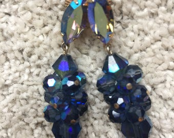 Vintage 1950's Mid Century AB Crystal Blue Sparkly Drop Go Go Dangle Clip On  Cluster Earrings
