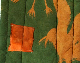 forest green gold and red orange linen mini quilt long hot pad hand dyed and printed with crows and a striped linen back