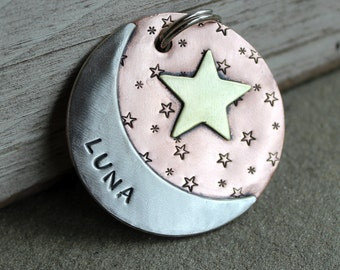 Extra Large Dog tag- pet tag with moon and stars-  XL Luna dog id tag