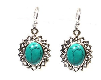 STERLING SILVER 925 earrings  African TURQUOISE