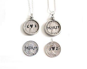 Wedding Sixpence . six pence . personalized sixpence . something old new borrowed blue . love token sixpence . wedding charm . custom coin