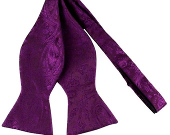 New Men's Paisley Purple Self-Tie Bowtie, for Formal Occasions