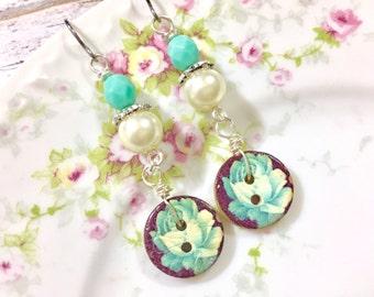 Button Earrings, Painted Flower Button Earrings, Aqua Flower Earrings, Button Jewelry, Pearl Earrings, Surgical Steel Earrings