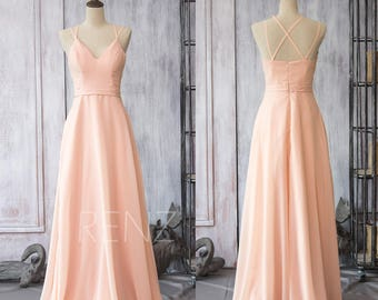 Bridesmaid Dress Peach Chiffon Dress,Wedding Dress,Criss Cross Strap Maxi Dress,V Neck A Line Prom Dress,Long Party Dress(F089)-Renzrags