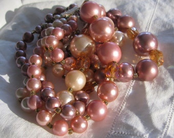 Beautiful Triple Strand Tiered Pearl Necklace, Shades of Pink and Lavender, Rhinestones, Graduated, Vintage Japan