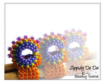 Beading Patterns, Instructions, Tutorials, Curved Cubic Right Angle Weave, Rooster Ring & Earrings Instant Download Pattern ZIPPIDI DO DA