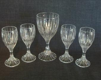 Set of 5 Beautiful Mikasa Park Lane Wine and Cordial Glasses, Park Lane by Mikasa Cordial and Wine Glasses