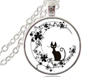 Cat glass cabochon pendant necklace