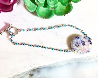 Floral Pearl Bracelet with turquoise howlite beaded chain