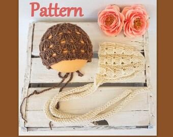 Baby bonnet knitting PATTERN - Newborn Lacy bonnet pattern - Knitting pattern bonnets - Photography prop pattern - Easy Baby hat pattern