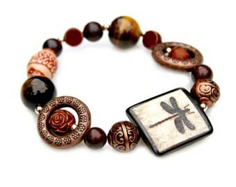 Dragon Fly Bracelet Rustic Nature Woodland Goddess Boho Chic Stretch Bracelet Tigers Eye Gemstone Copper Beaded Statement Jewelry Mei Faith