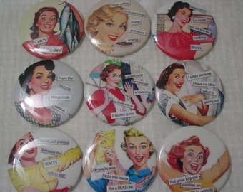 """Retro Housewives  Funny Sayings 2.25"""" Pin Back Buttons, Mirrors, Magnets or Key Chains for Birthdays, Weddings, Showers, Gifts, Set of 12"""