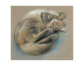 """Maine Coon Cat rolling around playfully - """"Turn That Frown Upside-Down"""" - Blank Note Card - Greeting Card, Special Occasion, Just Because"""