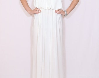 SALE White maxi dress Long white dress Maxi dress White wedding dress Spaghetti strap dress