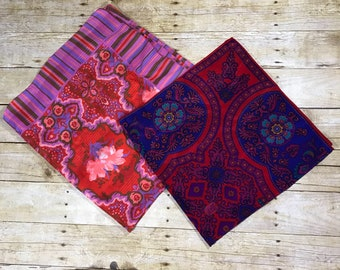 VINTAGE 1960s Floral Paisley Organic Stripe Purple Red Blue Moraccan Style Square Silk Neck Hair Purse Scarf