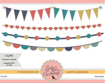 4 Clipart Pennants and Garlands ·Digital Scrapbook ·Clip Art ·Bunting ·Flags ·Garland ·Personal & Commercial Use ·Instant Download