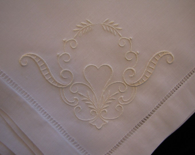 Ready to Ship - Set of 4 Exquisitely Embroidered Hemstitched Dinner Napkins
