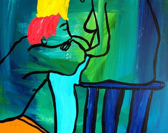 Lay It All Here 30x40 large acrylic abstract figurative painting inspired by Egon Schiele