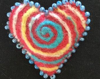 Heart shaped felt brooch