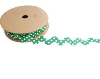 Christmas green ribbon ric rac trim ribbon polka dot fabric zig zag wavy craft ribbon by the yard spotty ric rac