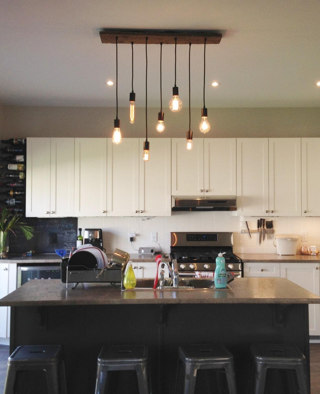7 Anhänger Holz Kronleuchter Küche Insel Küche-Beleuchtung