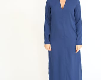 Blue maxi dress long sleeve  dress with sleeves For Women spring loose oversize maxi dress