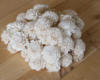 "Bulk Wood Sola Bali Flowers 2""  (100 Count)"