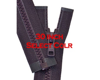 30 inch Vislon Jacket Zipper YKK Plastic Medium Weight ~ Select Color~YKK Vislon 5mm Molded Plastic Chunky Teeth SEPARATING Sports Zipper