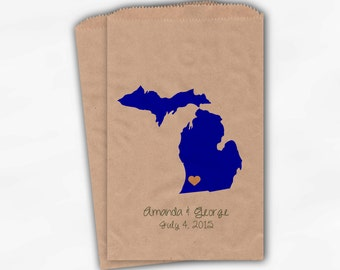 Michigan Home State Wedding Candy Buffet Treat Bags - Kraft Paper Favor Bags in Blue & Peach with Names and Date - Custom Paper Bags (0121)