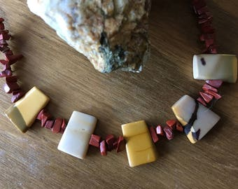 """Autumn Gold - 17"""" Necklace of Mookaite & Red Jasper"""