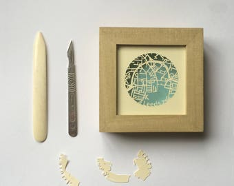 Handcut Papercut map of Leeds in a box frame