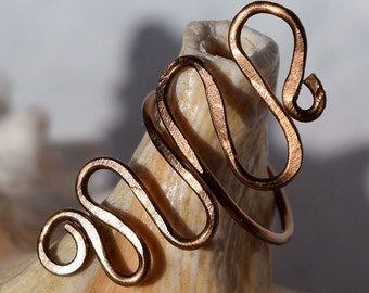 Patina copper Ring, Wire Ring, Jewelry, Freeform Ring, Adjustbable