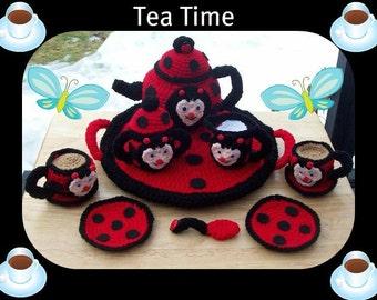 Miss Jessy Lady Bug Teapot Tea Set Crochet Pattern