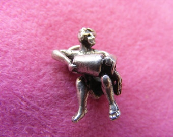 I) Vintage Sterling Silver Charm Zodiac Aquarius water carrier