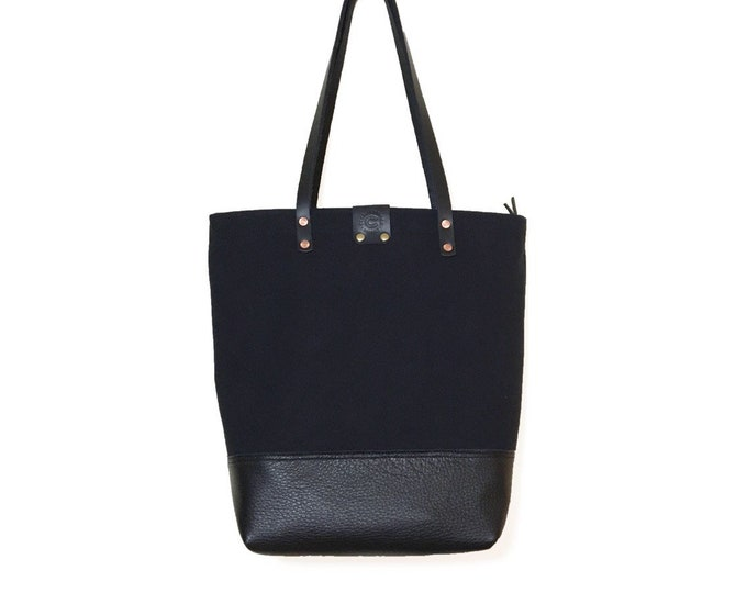 Ella Zip Top canvan and leather Day Bag