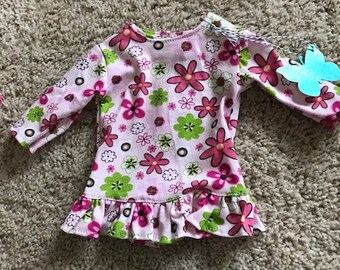 "18"" Doll Pink Flowered Long Sleeve Tunic Shirt"