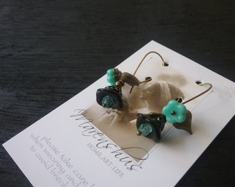 brazen Earrings with bohemian glass beads and brazen heart