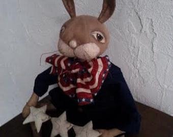 Primitive Folk Art Bunny Rabbit Doll - Patriotic