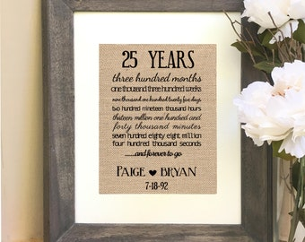 ON SALE Twenty Five Year Anniversary Gift 25 Year Anniversary Silver Anniversary  Print months weeks days hours minutes seconds