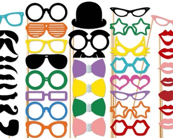 Best Wedding Photo Booth Props - 40 piece set - Mustache Party Photobooth